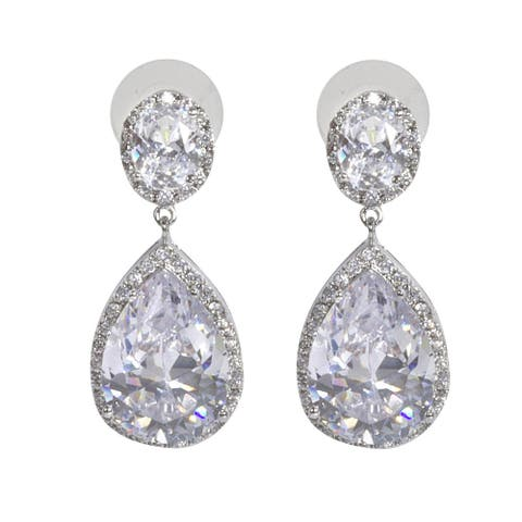 NEXTE Jewelry Pear-cut Cubic Zirconia Large Dangle Earrings