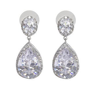 NEXTE Jewelry Pear-cut Cubic Zirconia Large Dangle Earrings|https://ak1.ostkcdn.com/images/products/10072323/P17216283.jpg?impolicy=medium