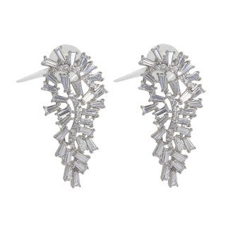 NEXTE Jewelry Silvertone Tapered Baguette Cubic Zirconia Leaf Earrings