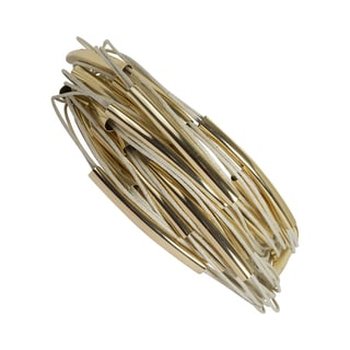 NEXTE Jewelry Goldtone 20-layer Beige Cord and Tube Bracelet