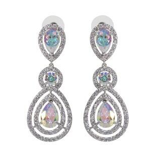NEXTE Jewelry Silvertone Double Pear Opaque Cubic Zirconia Chandelier Cluster Earrings