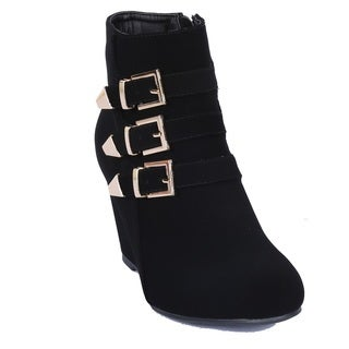 Women's Fashion Paola-95 Triple Buckle Ankle High Wedge Booties