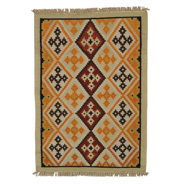 Reversible Anatolian Kilim Oriental Handmade Rug - 4'1 x 5'10
