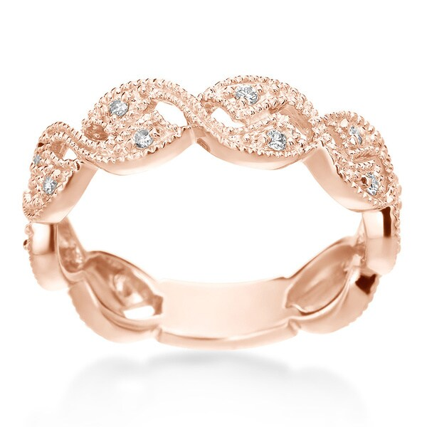 SummerRose Vintage 14k gold 1/6ct TDW Diamond Ring Wedding Band