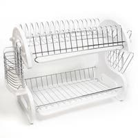 Sweet Home Collection Sleek Contemporary Design White 2-Tier Dish Drainer