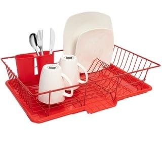 Dish Drainer Red 3-piece Set