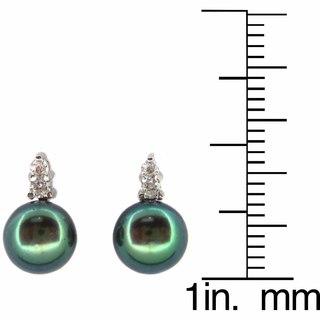 Kabella Sterling Silver Freshwater Black Pearl Earrings (7-7.5 mm)