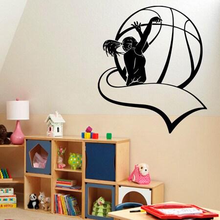 """Girl Woman Basketball Player Sticker Vinyl Wall Art (22""""x..."""
