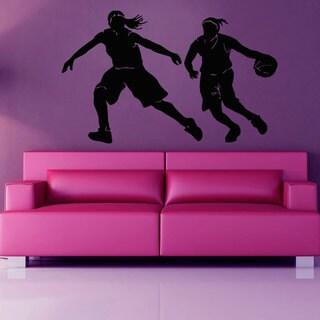Woman Girl Basketball Player Dunk Sticker Vinyl Wall Art