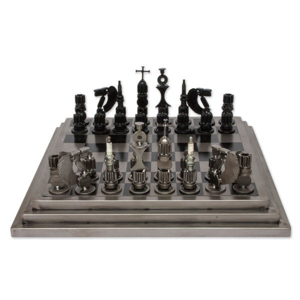 Handcrafted Upcycled Auto Part `Rustic Warriors` Chess Set (Mexico)