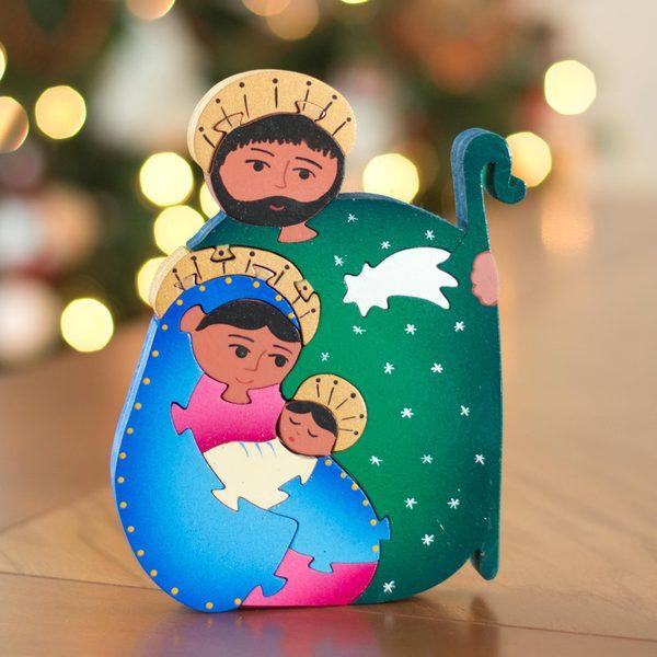 Handmade Wood 'Holy Family' Display Jigsaw Puzzle (Mexico)