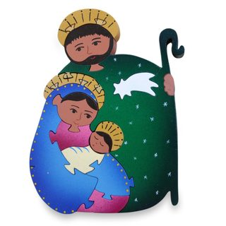 Handmade Wood 'Holy Family' Display Jigsaw Puzzle (Mexico)