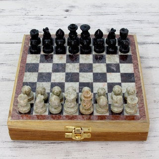 Handcrafted Soapstone 'Royal Contest' Chess Set (India)