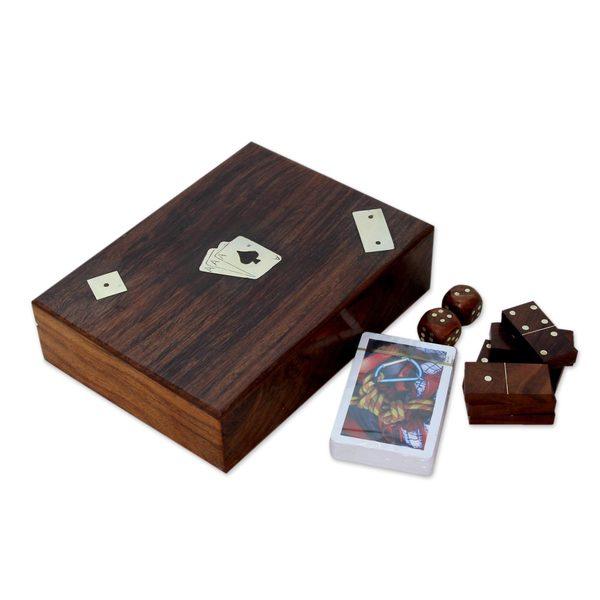Handmade Seesham Wood Brass 'Three Game Fun' Game Pieces (India)