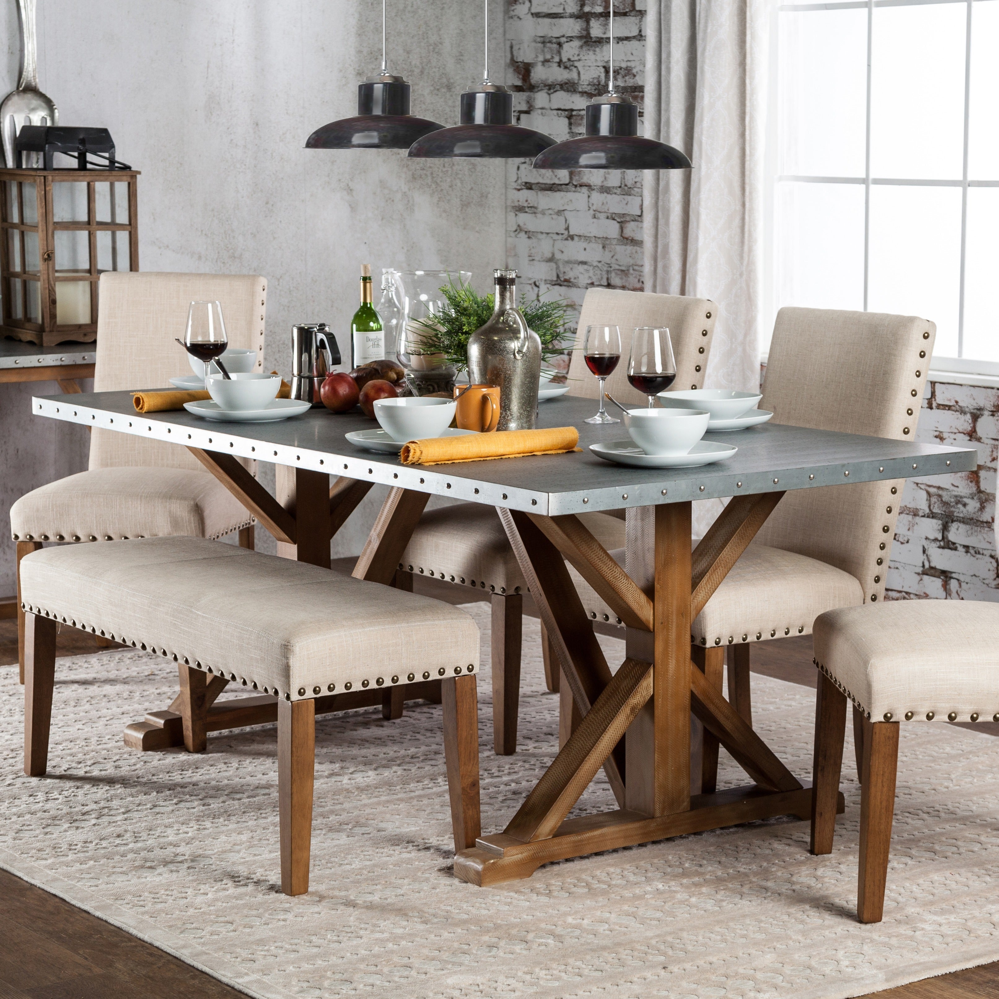 Furniture of America Aralla Industrial Style Dining Table...