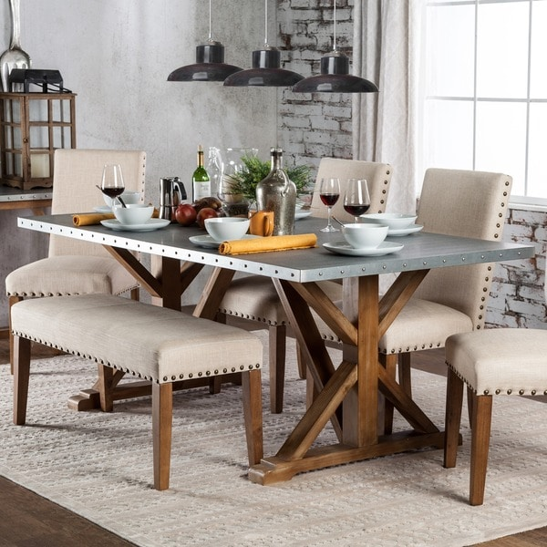Shop Furniture of America Aralla Industrial Style Dining Table - Brown - Free Shipping Today ...