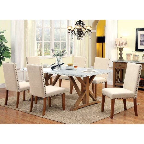 Furniture of america aralla industrial 7 piece dining set for Today s home furniture