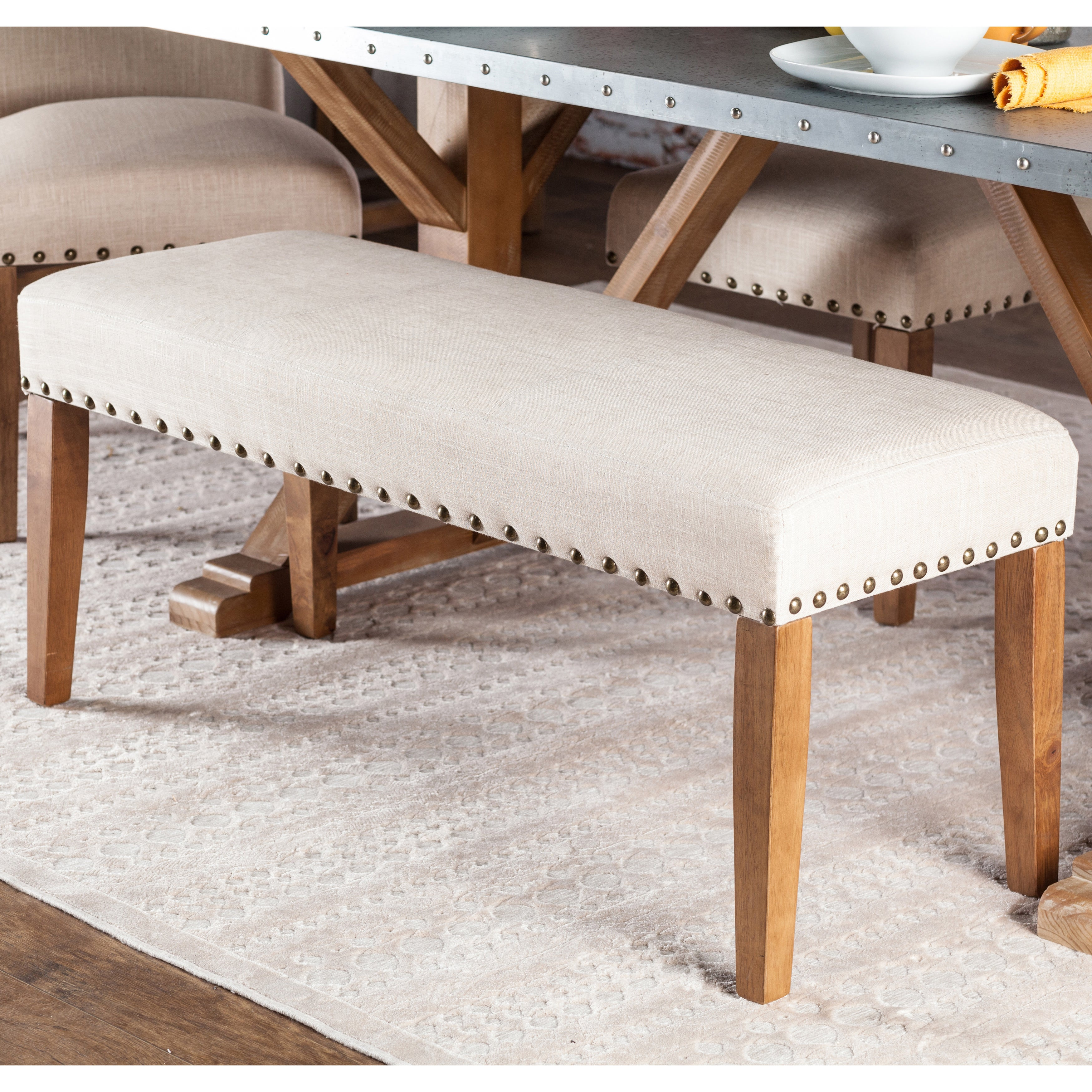 Furniture of America Aralla Upholstered Dining Bench (Ivo...