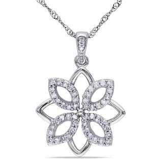 Miadora 14k White Gold 1/4ct TDW Diamond Flower Necklace
