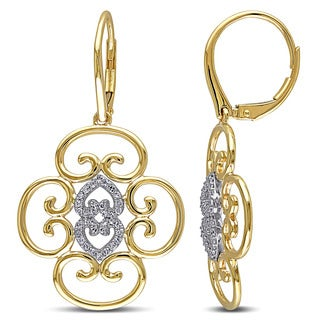Miadora 14k White and Yellow Gold 1/4ct TDW Diamond Earrings (G-H, SI1-SI2)