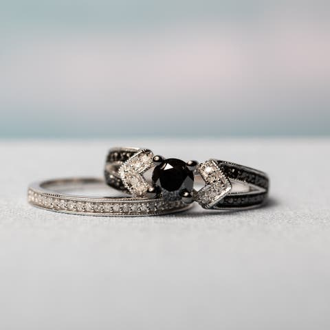 Miadora Sterling Silver Black Rhodium 1 1/8ct TDW Black and White Diamond Split Shank Bridal Set