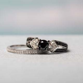 Miadora Sterling Silver Black Rhodium 1 1/8ct TDW Black and White Diamond Split Shank Bridal Set