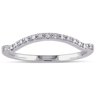 Miadora 10k White Gold Diamond Accent Contour Anniversary-style Stackable Wedding Band (G-H, I1-I2)