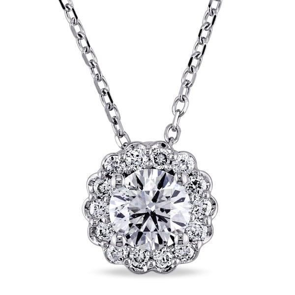 Miadora Signature Collection 14k White Gold 5/8ct TDW Diamond Halo Necklace