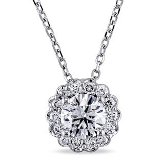 Miadora Signature Collection 14k White Gold 5/8ct TDW Diamond Halo Necklace (G-H, I1-I2)