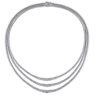 Miadora Signature Collection 18k White Gold 14 4/5ct TDW Diamond Tennis Necklace (G-H, SI1-SI2)