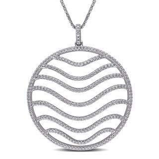 Miadora 14k White Gold 1 2/5ct TDW Diamond Circle Necklace (G-H, SI1-SI2)