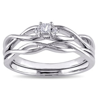 Miadora 10k White Gold Diamond Accent Infinity Princess-cut Bridal Ring Set
