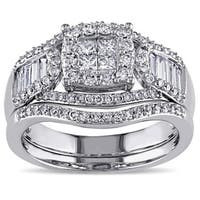 Miadora Signature Collection 14k White Gold 1 1/5ct TDW Diamond Bridal Ring Set