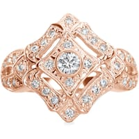 SummerRose 14k Rose Gold 1/2ct TDW Diamond Antique Cocktail Ring