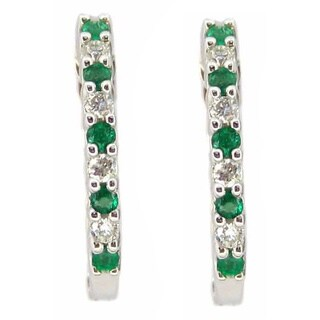Kabella 18k White Gold Emerald and 1/10ct TDW Diamond Hoop Earrings (G-H, SI1-SI2)
