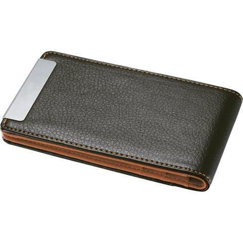 Visol Arman Brown/ Orange Leather Credit Card Holder
