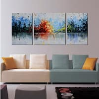 Hand-painted 'Cheerful Melody' 3-piece Gallery-wrapped Oil on Canvas Set