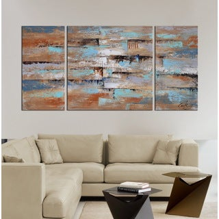 Hand-painted 'Abstract 649' 3-piece Gallery-wrapped Oil on Canvas Set