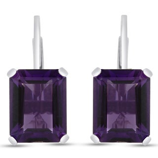 4 1/2 TGW Emerald Shape Amethyst Leverback Earrings In Sterling Silver