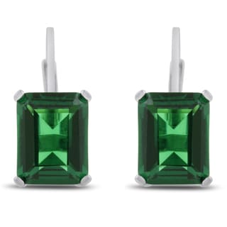 Sterling Silver 4 1/2ct Emerald-cut Created Emerald Leverback Earrings