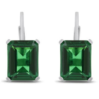 4 1/2 TGW Emerald Shape Created Emerald Leverback Earrings In Sterling Silver|https://ak1.ostkcdn.com/images/products/10074409/P17218169.jpg?impolicy=medium