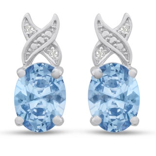 Platinum Overlay 3ct Oval-cut Blue Topaz and Diamond Accent Earrings
