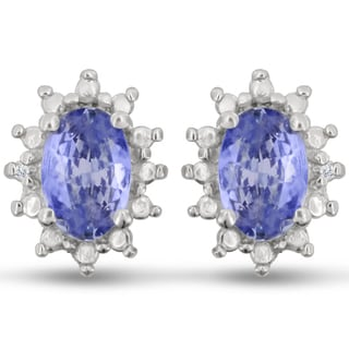 Sterling Silver 1ct Tanzanite and Diamond Accent Earrings