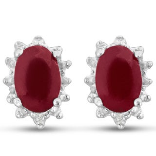 Sterling Silver 1ct Ruby and Diamond Accent Earrings