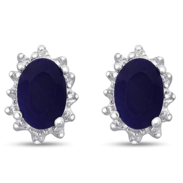 Sterling Silver 1 TGW Sapphire and Diamond Accent Earrings