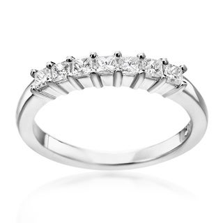 SummerRose 14k White Gold Princess Cut Band 0.50cttw,
