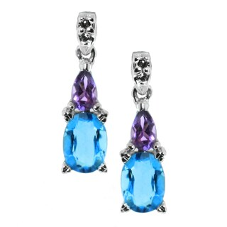 Michael Valitutti 14k Gold Amethyst, and Blue Topaz Earrings