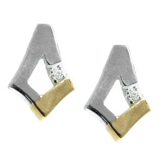 Michael Valitutti 14k Two Tone Gold Diamond Earrings