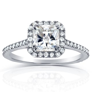 Annello by Kobelli 14k White Gold 1 1/3ct TDW Radiant Diamond Halo Engagement Ring