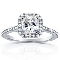 Annello by Kobelli 14k White Gold 1 1/3ct TDW Radiant Diamond Halo Engagement Ring